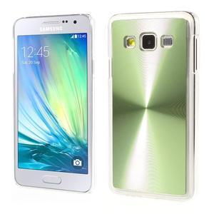 Metalický plastový obal na Samsung Galaxy A3 - zelený - 1