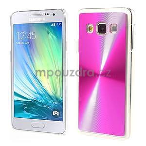 Metalický plastový obal na Samsung Galaxy A3 - růžový - 1