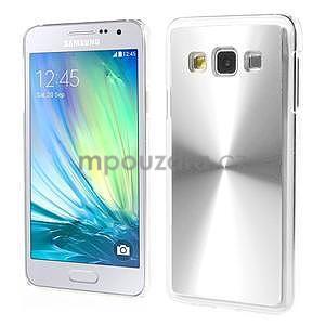 Metalický plastový obal na Samsung Galaxy A3 - stříbrný - 1