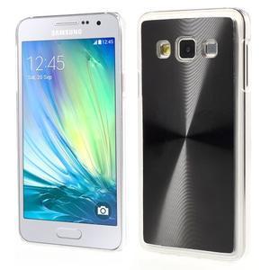 Metalický plastový obal na Samsung Galaxy A3 - černý - 1