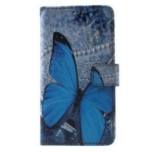 Koženkové pouzdro na Samsung Galaxy A5 (2016) - modrý motýl - 1