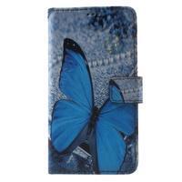 Koženkové pouzdro na Samsung Galaxy A5 (2016) - modrý motýl - 1/6