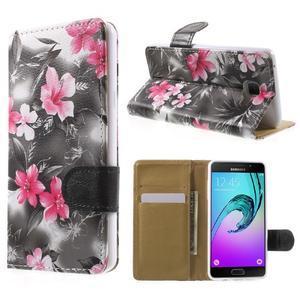 Květinové peněženkové pouzdro na Samsung Galaxy A5 (2016) - černé - 1
