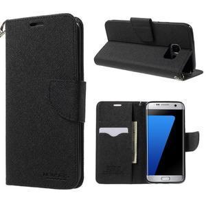Mercury Orig PU kožené pouzdro na Samsung Galaxy S7 Edge - černé - 1