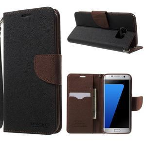 Mercury Orig PU kožené pouzdro na Samsung Galaxy S7 Edge - černé/hněé - 1