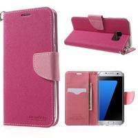 Mercury Orig PU kožené pouzdro na Samsung Galaxy S7 Edge - rose - 1/7
