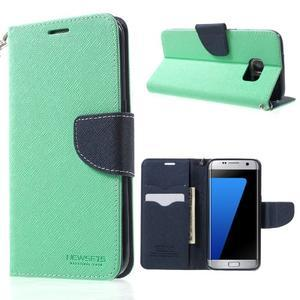 Mercury Orig PU kožené pouzdro na Samsung Galaxy S7 Edge - azurové - 1