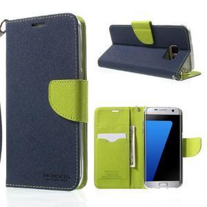 Mercury Orig PU kožené pouzdro na Samsung Galaxy S7 - tmavěmodré - 1