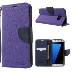 Mercury Orig PU kožené pouzdro na Samsung Galaxy S7 Edge - fialové - 1