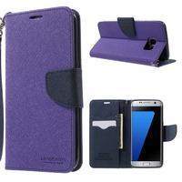 Mercury Orig PU kožené pouzdro na Samsung Galaxy S7 Edge - fialové - 1/7