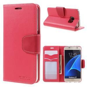Rich PU kožené peněženkové pouzdro na Samsung Galaxy S7 - rose - 1
