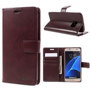 Moon PU kožené pouzdro na mobil Samsung Galaxy S7 - tmavěčervené - 1