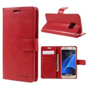 Moon PU kožené pouzdro na mobil Samsung Galaxy S7 - červené - 1