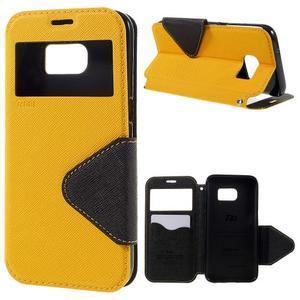 Diary pouzdro s okýnkem na Samsung Galaxy S7 - žluté - 1