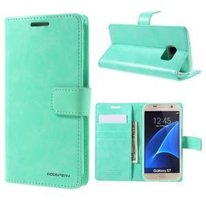 Moon PU kožené pouzdro na mobil Samsung Galaxy S7 - azurové - 1