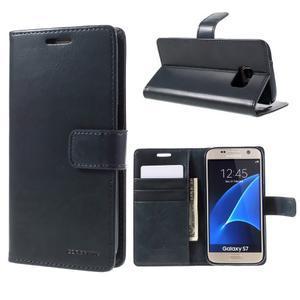 Moon PU kožené pouzdro na mobil Samsung Galaxy S7 - tmavěmodré - 1