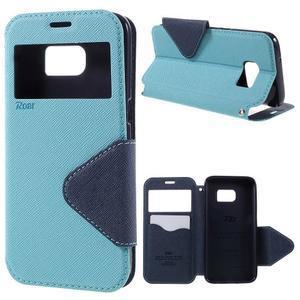 Diary pouzdro s okýnkem na Samsung Galaxy S7 - světlemodré - 1