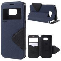 Diary pouzdro s okýnkem na Samsung Galaxy S7 - tmavěmodré - 1/7