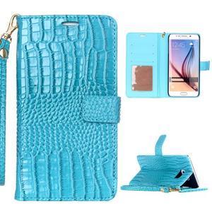 Croco styl peněženkové pouzdro na Samsung Galaxy S7 - modré - 1