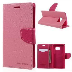 Goosper PU kožené pouzdro na Samsung Galaxy S7 - růžové - 1