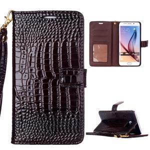 Croco styl peněženkové pouzdro na Samsung Galaxy S7 - hnědé - 1