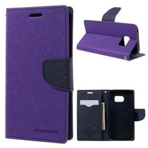 Goosper PU kožené pouzdro na Samsung Galaxy S7 - fialové - 1