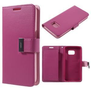 Luxury PU kožené pouzdro na Samsung Galaxy S7 - rose - 1