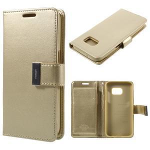 Luxury PU kožené pouzdro na Samsung Galaxy S7 - zlaté - 1