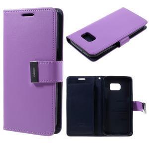 Luxury PU kožené pouzdro na Samsung Galaxy S7 - fialové - 1