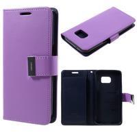 Luxury PU kožené pouzdro na Samsung Galaxy S7 - fialové - 1/7