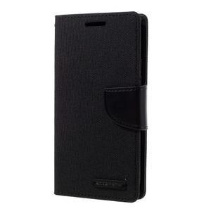 Canvas PU kožené/textilní pouzdro na Samsung Galaxy S7 - černé - 1