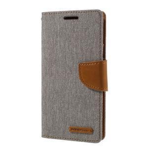 Canvas PU kožené/textilní pouzdro na Samsung Galaxy S7 - šedé - 1