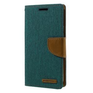 Canvas PU kožené/textilní pouzdro na Samsung Galaxy S7 - zelené - 1