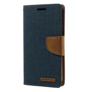 Canvas PU kožené/textilní pouzdro na Samsung Galaxy S7 - modré - 1