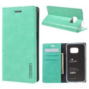 Bluemoon PU kožené puzdro pre mobil Samsung Galaxy S7 - cyan - 1