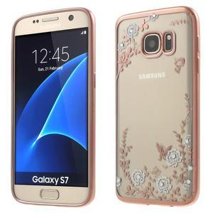 Nice gelový obal s kamínky na Samsung Galaxy S7 - bílé květiny - 1