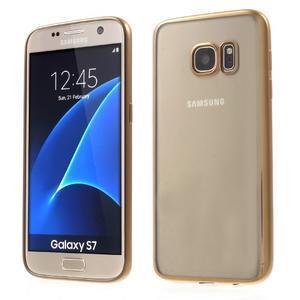 Gelový obal se zlatým rámečkem na Samsung Galaxy S7 - 1