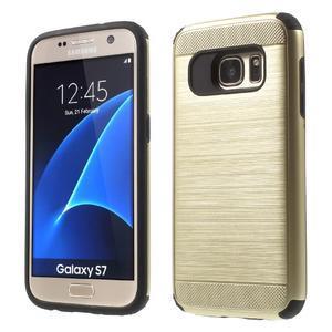 Dvoudílný odolný kryt na Samsung Galaxy S7 - zlatý - 1