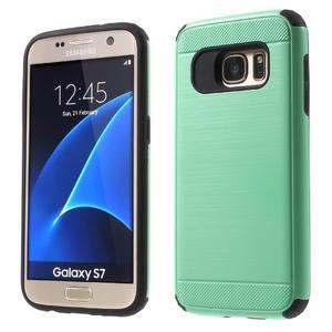 Dvoudílný odolný kryt na Samsung Galaxy S7 - cyan - 1