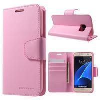 Sonata PU kožené pouzdro na Samsung Galaxy S7 - růžové - 1/7