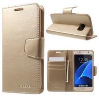 Sonata PU kožené pouzdro na Samsung Galaxy S7 - zlaté - 1/7