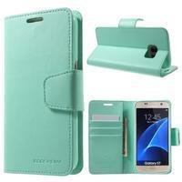 Sonata PU kožené pouzdro na Samsung Galaxy S7 - azurové - 1/7