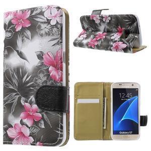 Flower pouzdro na mobil Samsung Galaxy S7 - černé pozadí - 1