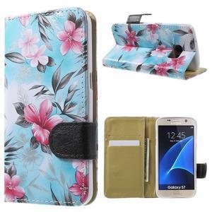 Flower pouzdro na mobil Samsung Galaxy S7 - modré pozadí - 1