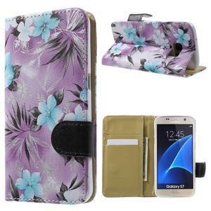 Flower pouzdro na mobil Samsung Galaxy S7 - fialové pozadí - 1