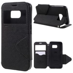Diary pouzdro s okýnkem na Samsung Galaxy S7 - černé - 1