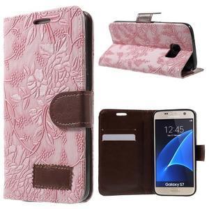 Květinové pěněženkové pouzdro na Samsung Galaxy S7 - růžové - 1