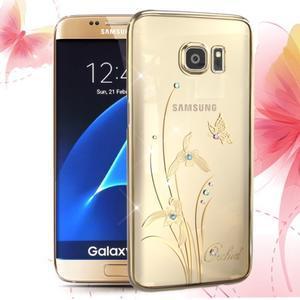 Swarovski plastový obal s kamínky na Samsung Galaxy S7 - orchidej