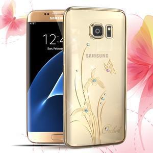 Swarovski plastový obal s kamínky na Samsung Galaxy S7 Edge - orchidej