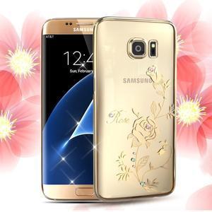 Swarovski plastový obal s kamínky na Samsung Galaxy S7 Edge - růže